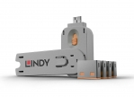 Lindy 40453 USB-A Port Schloss SET,ORANGE,1x Schlüssel/4x Schloss