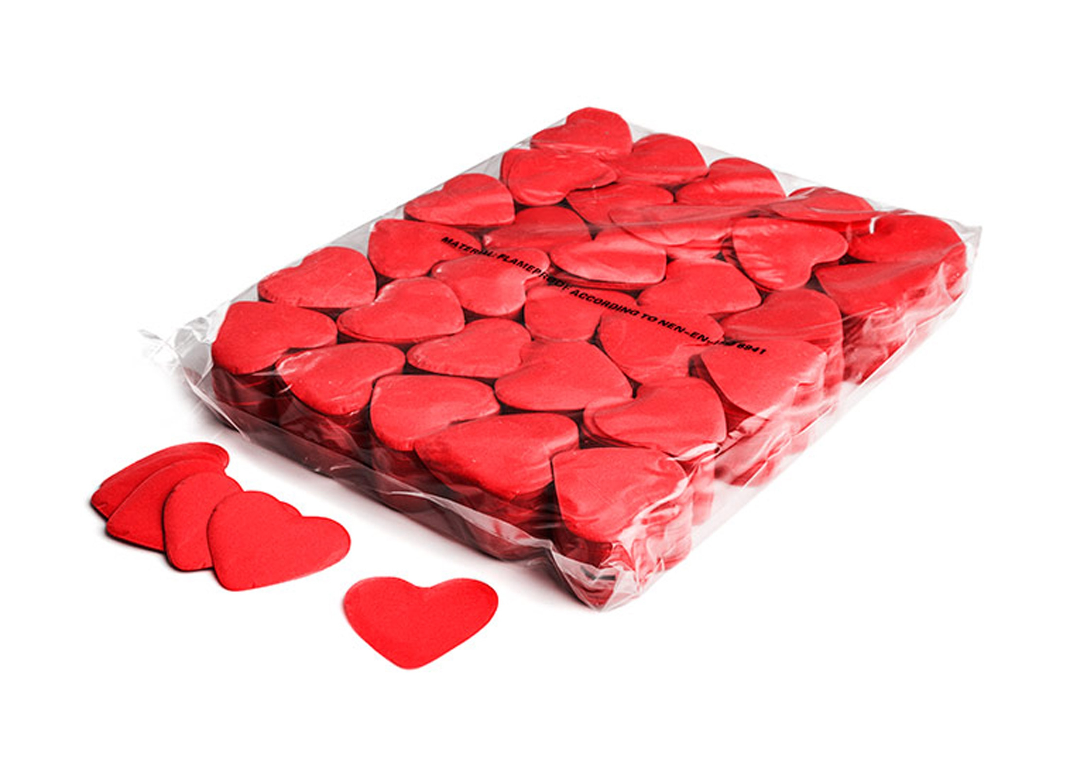 MagicFX Slowfall Confetti, RED, 1kg, Ø55mm Hearts, Paper