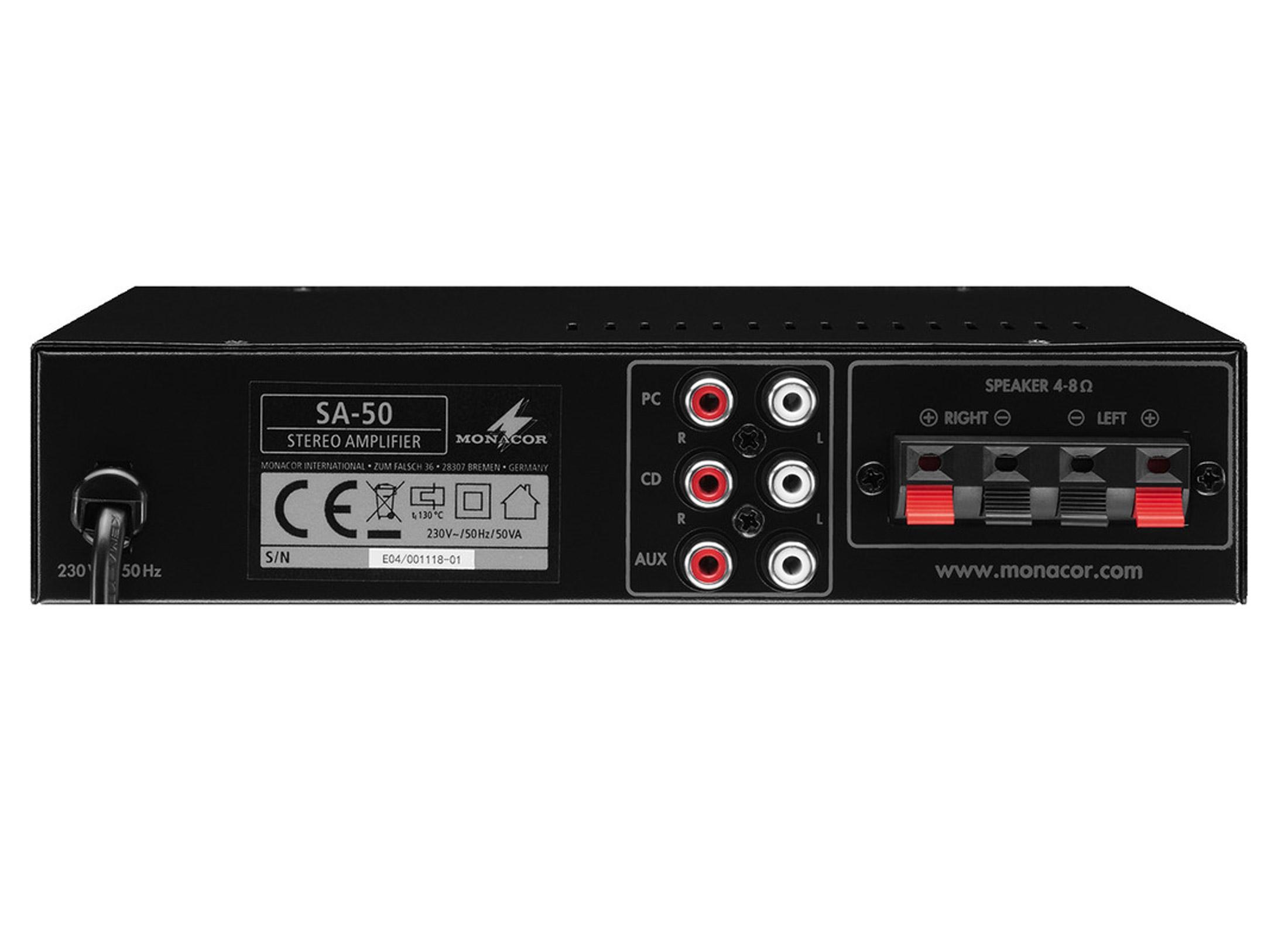 Monacor SA-50 Compact Amp , 2x 12 5W/4Ohms, 2x 10W/8Ohms, USB, Mini Jack  (Player), IN: 3xCinch (PC,CD,AUX) OUT: Clamp