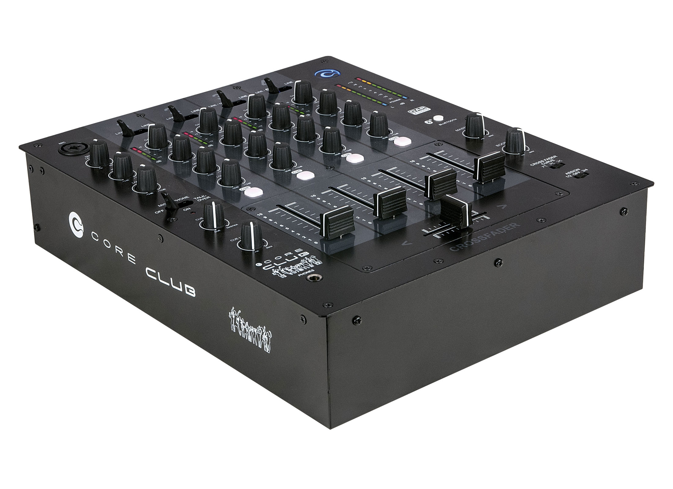 DAP Audio CORE Club DJ Mixer, 4-Channel, IN: 8x Line/1x Mic, 1xBluetooth,  OUT: 1xRecord/ 1xBooth/ 1xMaster/ 1xHeadphones