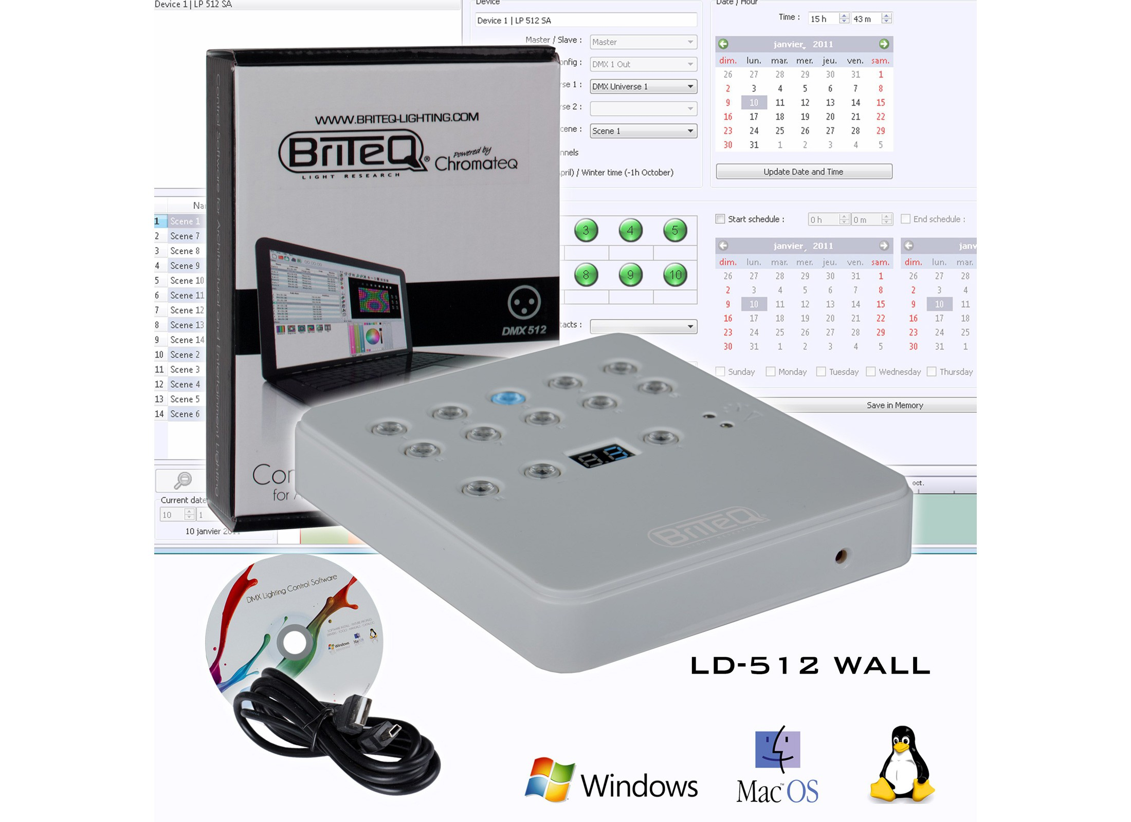 BriteQ LD-512WALL DMX-Wall Controller / Software Online At Low ...