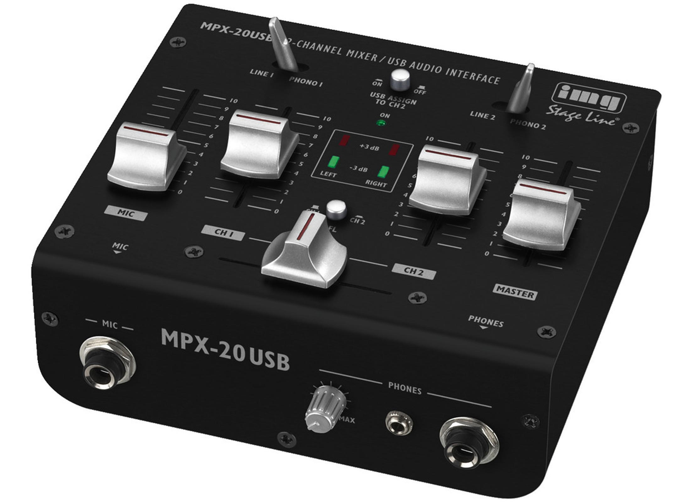 IMG STAGELINE MPX-20USB DJ-Mixer, 3-Channel, USB, 1x Mic, 2x Stereo
