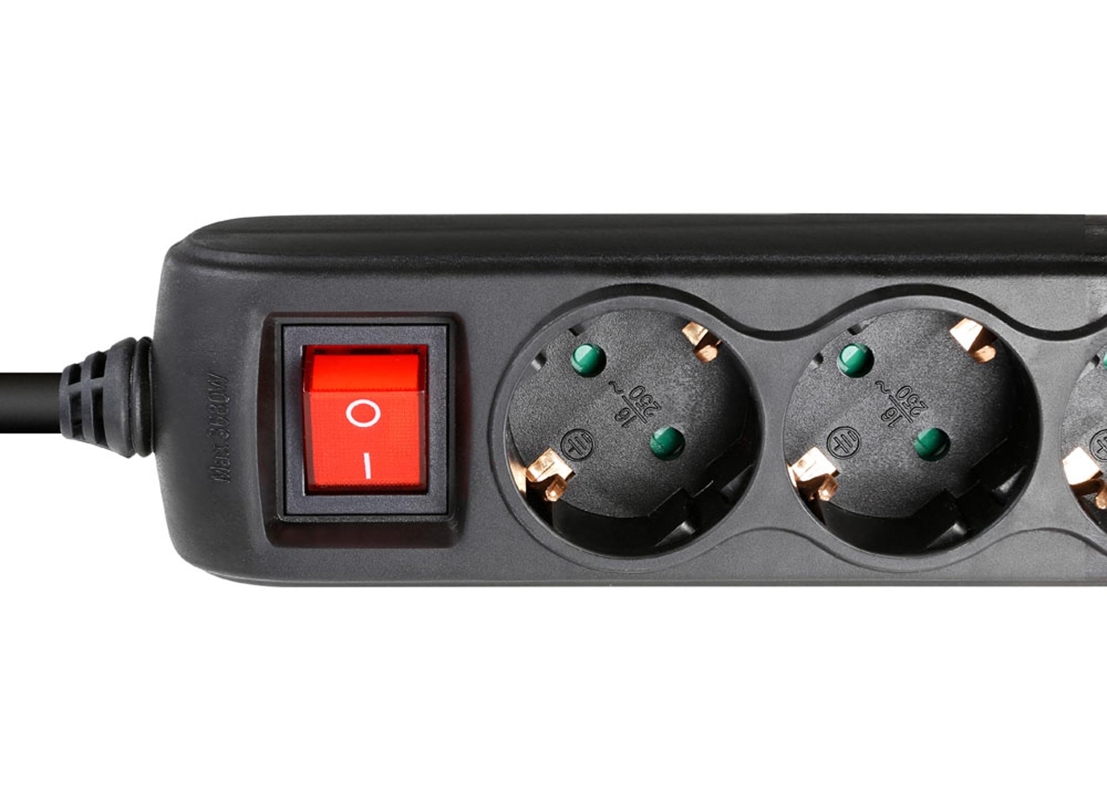 Adam Hall USB Multi-Socket Power Strip with switch, black, 3-fold ...