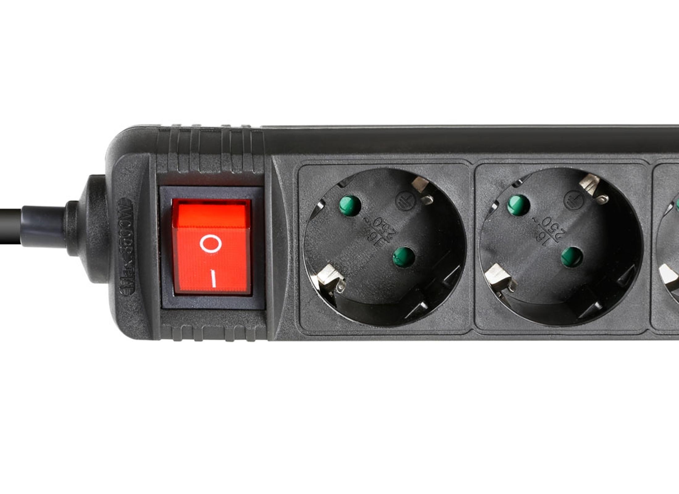 Adam Hall Multi-Socket Power Strip with switch, black, 6-fold Online ...
