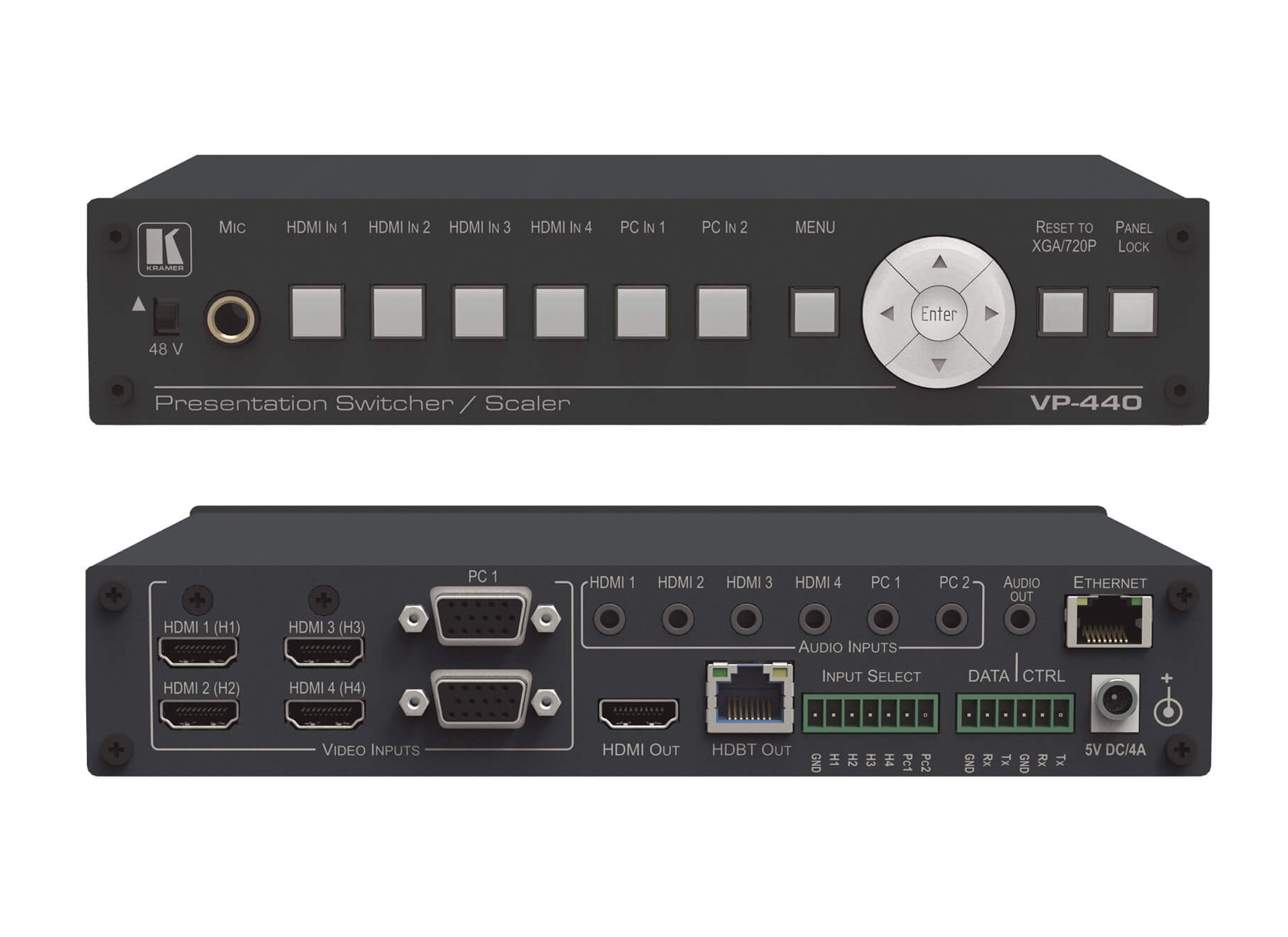 Kramer VP-440 Presentation-Scaler, 19\'\' capable, IN: 4x HDMI 2x VGA/HD, 6x  3.5mm Audio, 1x 6.3mm Micro,OUT: HDMI, HDBaseT
