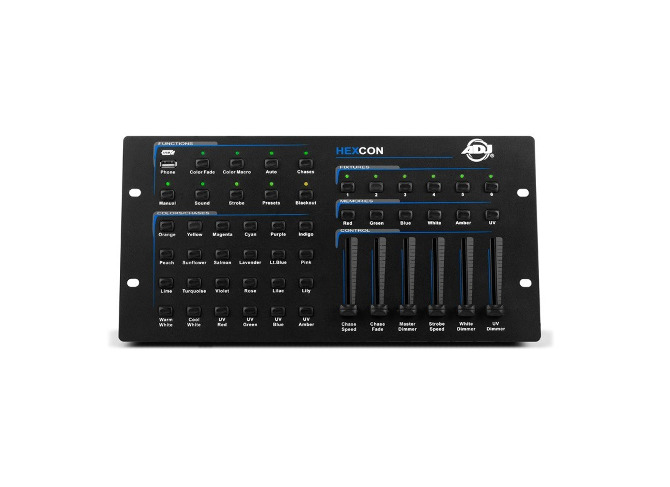 American DJ Hexcon DMX-Controller, 36-Channel, 6-Devices, DMX512,USB, OUT:  XLR 3pol, Sound to Light,suit  f  Hex-Serie
