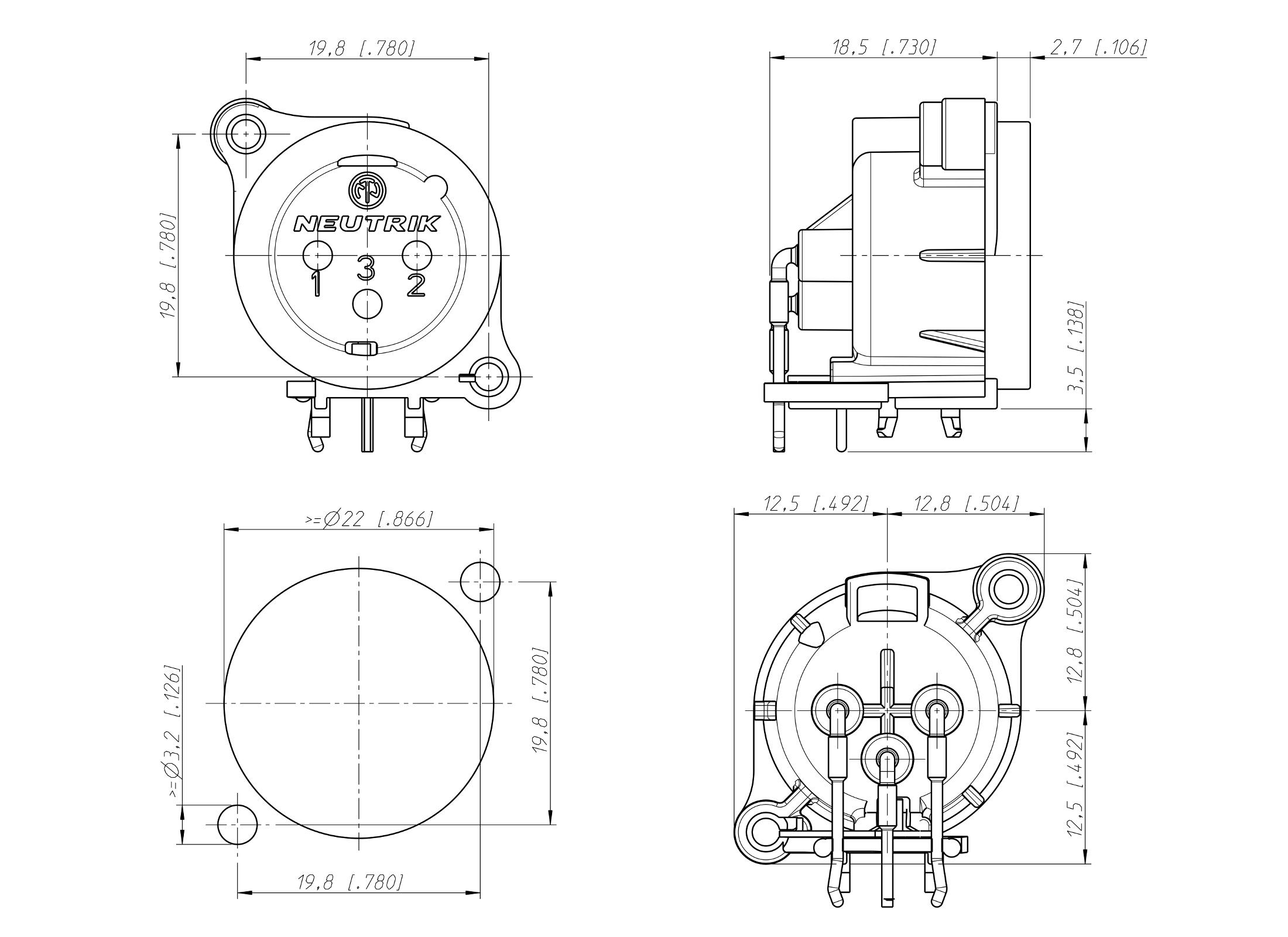 Neutrik NC3MAAH XLR 3pin Panel Jack, male, black, A-Housing, horizontal on