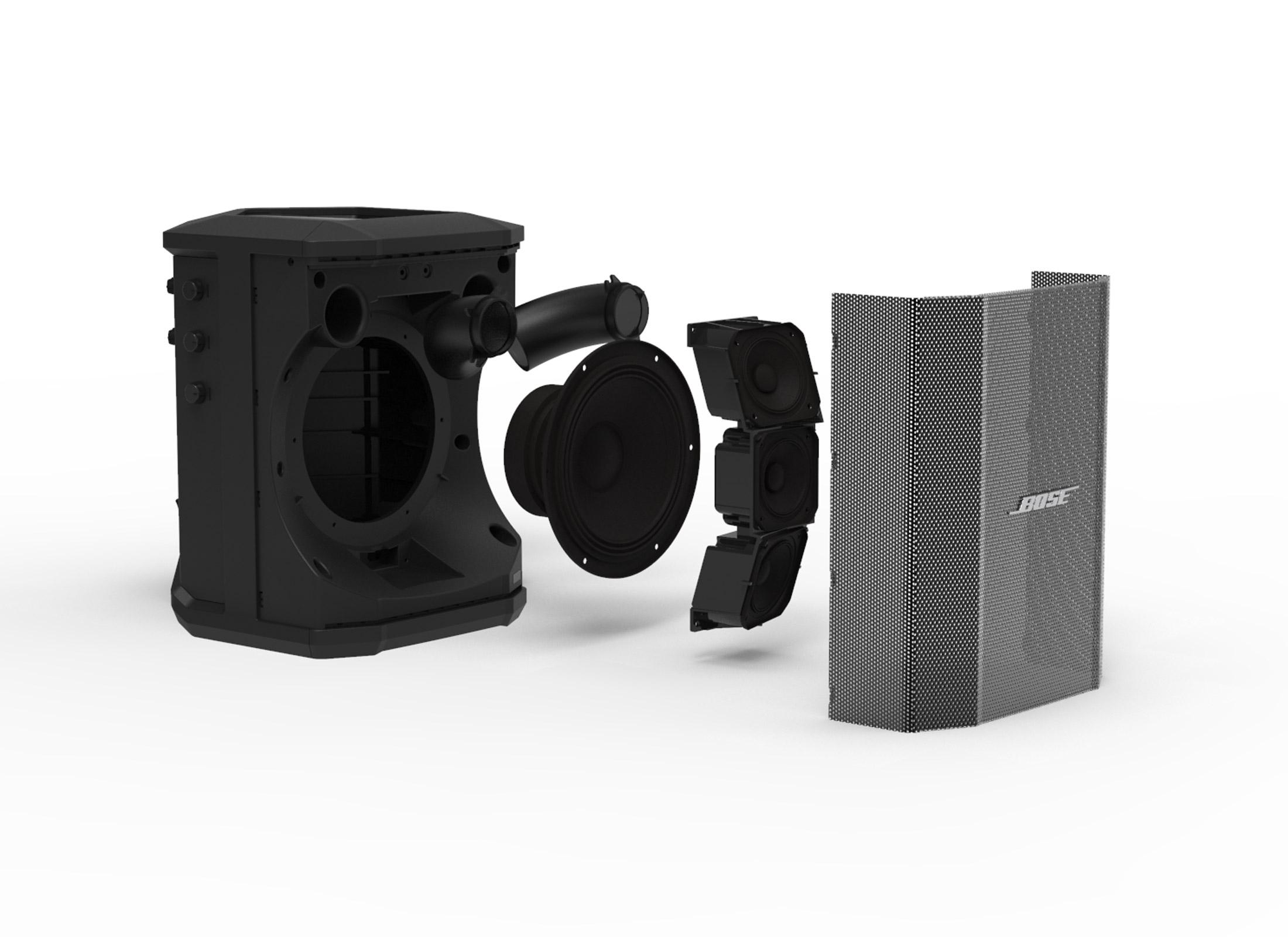 Bose S1 Pro Activebox, black, 6''/1'', 100°x40°, 3-Channel Mixer, 2x Combi  Socket / USB / Bluetooth, Adaptor: 35mm