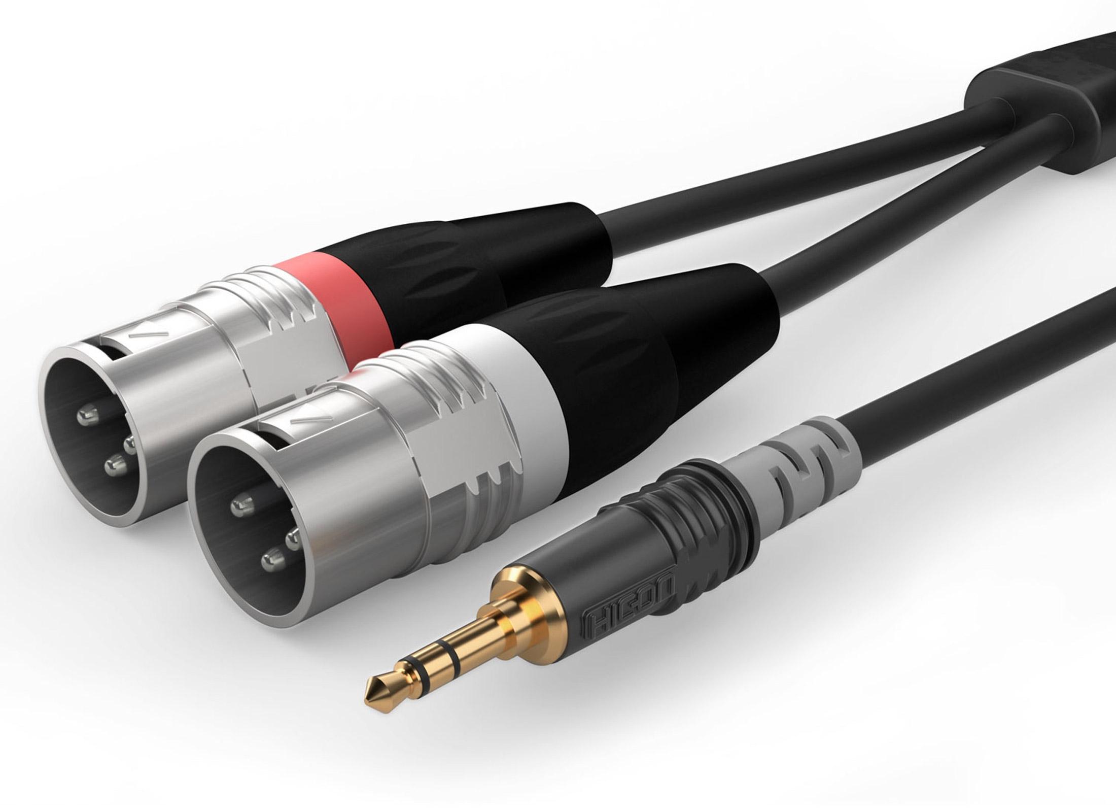 1,5 m Verbindungskabel 3,5 mm Klinke male auf 2 x XLR male Adapter schwarz