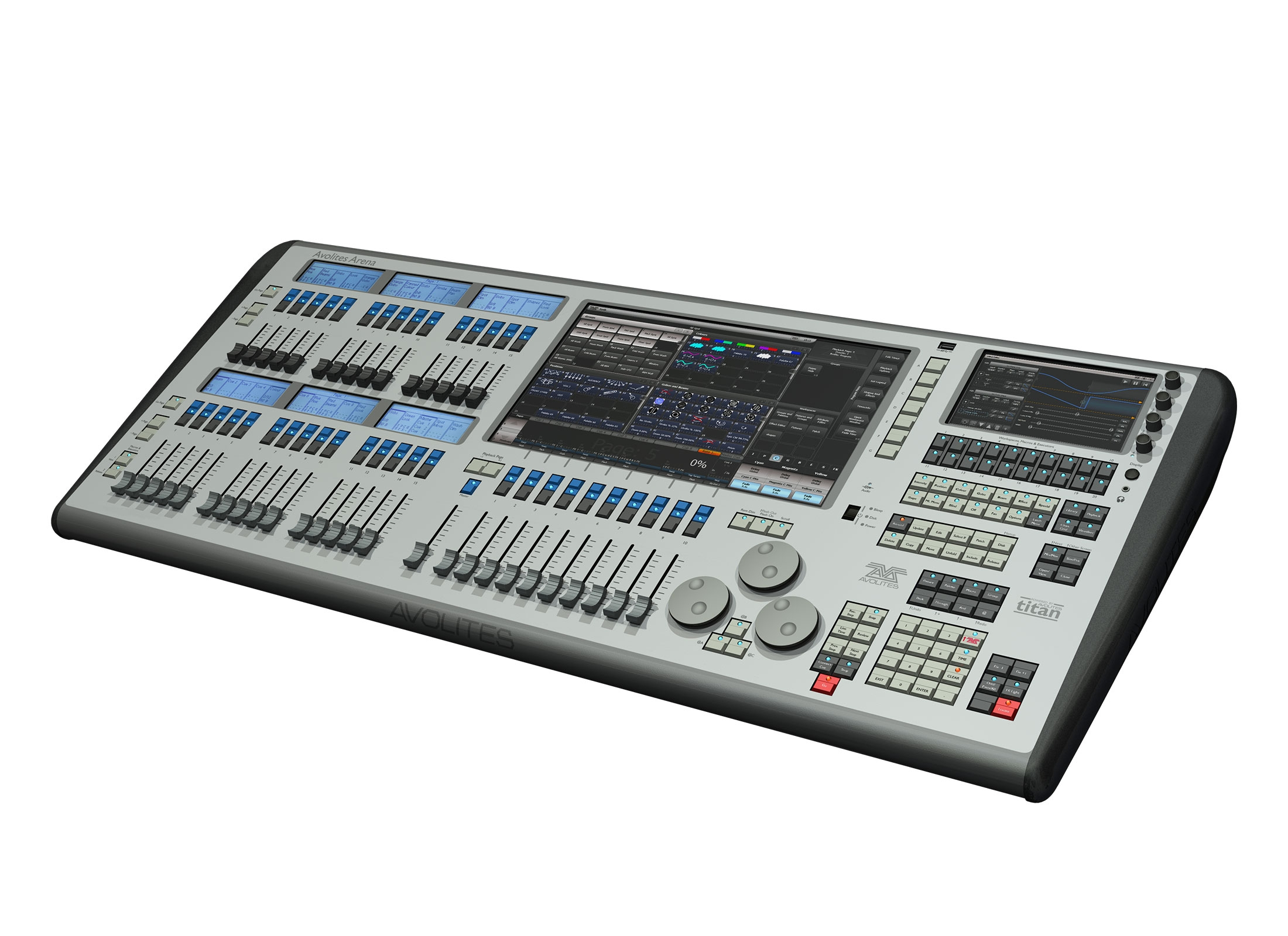 Avolites Arena Lighting Mixer, DMX512, Midi, ArtNet, sACN, 16 Universes, 8x  DMX XLR 5pin, 15 6'' Touchscreen