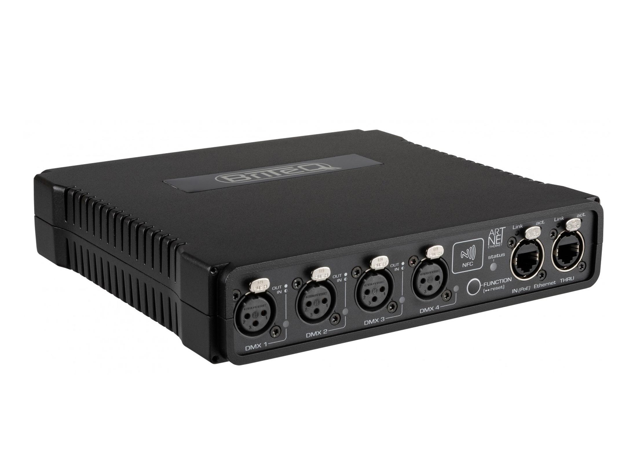 Briteq BT-NODE24 XLR 3pin ArtNet DMX Converter, 19''/1U, 4x 3pol XLR, USB,  Midi, PoE, RDM, integrated Webinterface