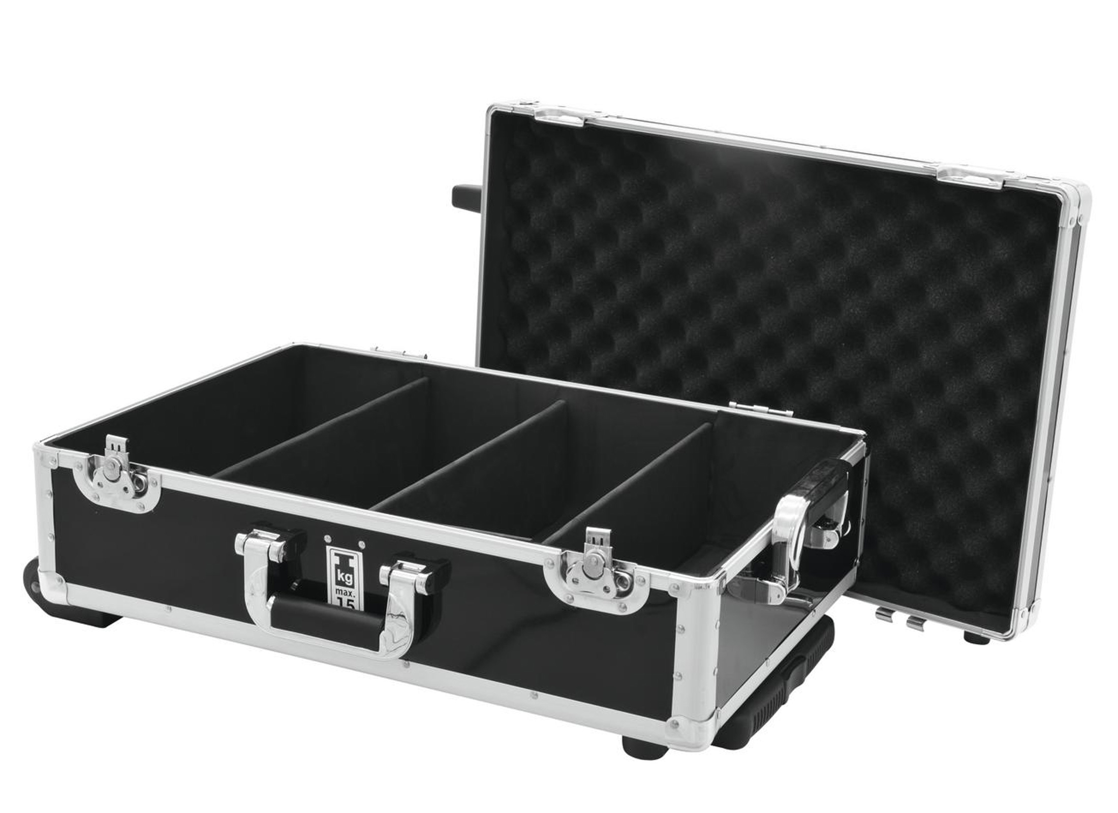 Case für DJ Equipment, CD CASE (120 CD's), Trolley, black Inside Divided  4-fold, 2x Butterfly, MADE IN CHINA