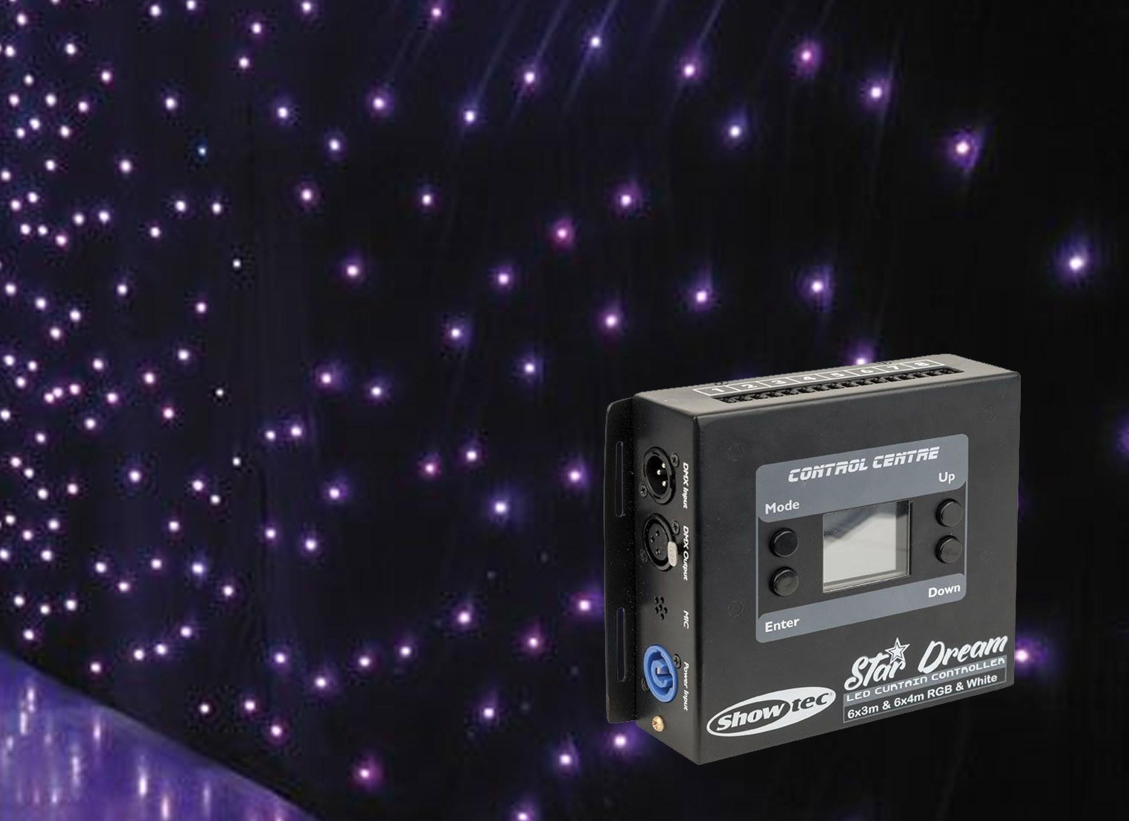 Showtec Star Dream LED Curtain, 6x3m, 128x5mm LED RGB, DMX, Sound to Light,  Master/Slave, incl  Controller