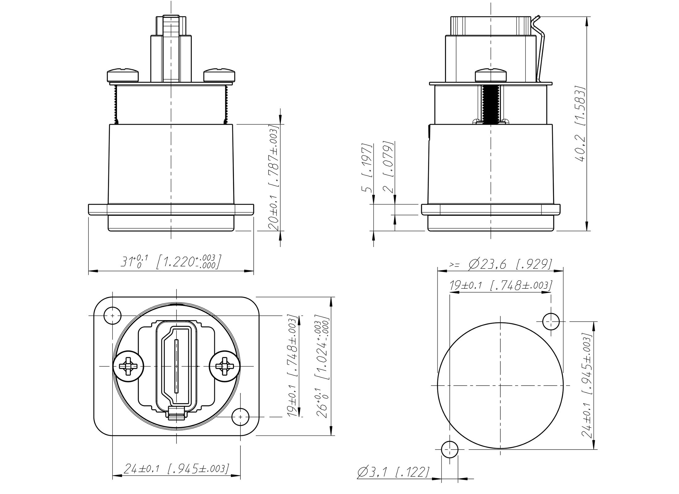 Einbaubuchse D-Form Gehäuse Neutrik NAHDMI-W 1.3