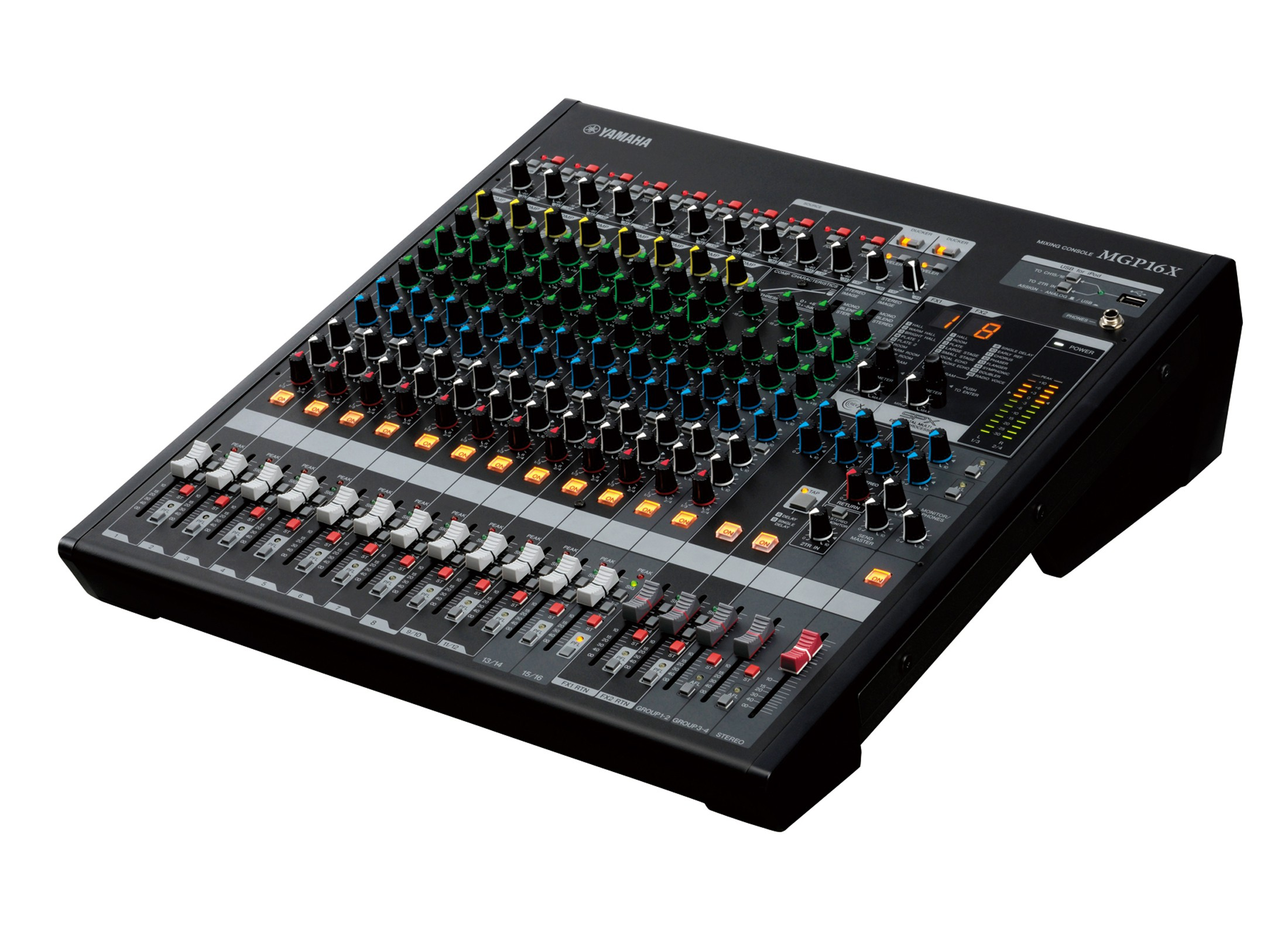 Yamaha MGP16X Compact Mixer, 16-Channel,19'', SPX-FX, IN: 10xMono-Mic,  2xStereo-Mic/Line, int Power Supply, incl Rackm