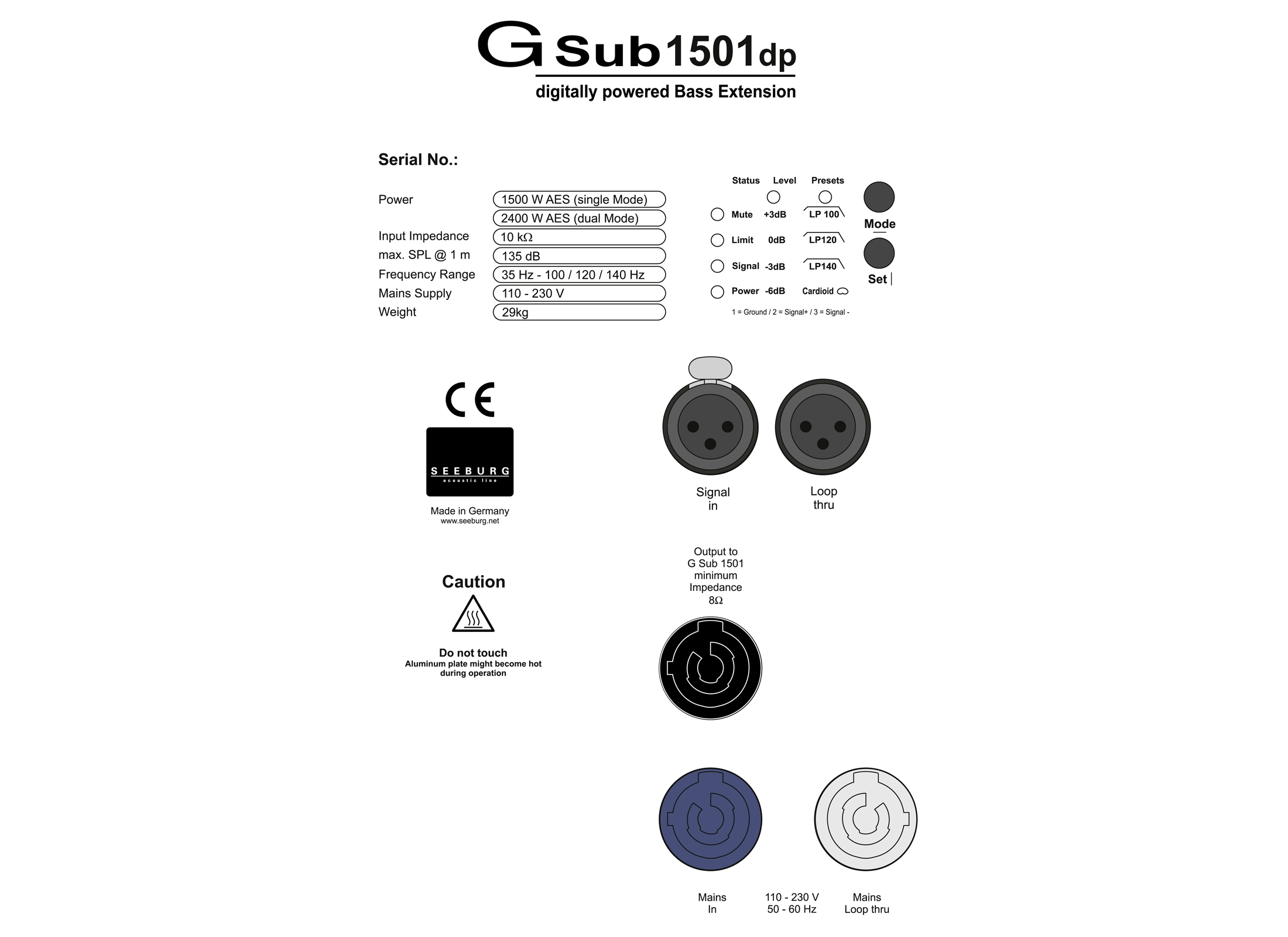 Seeburg Acoustic Line G Sub 1501 Dp Active Subwoofer Online At Low Powercon Wiring Diagram 15 Kw Neodymium M20 In Out Xlr 3pin