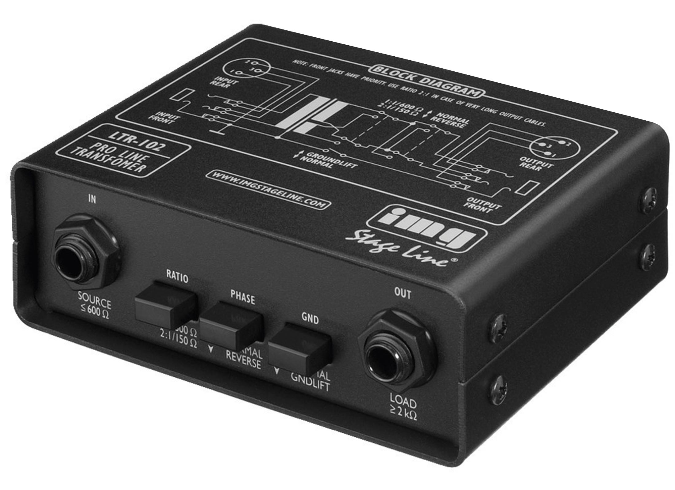 IMG STAGELINE LTR-102 Line Transformer, 20-25000 Hz, switchable 1:1/600 Ohm  / 2:1/150Ohm, IN/OUT: Jack / XLR