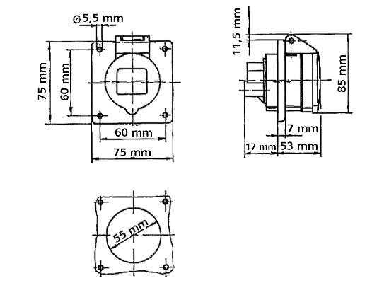 1x Bals 2814 CEE Anbaustecker 16A 400V 5pol Schraubkontakt 6h IP44