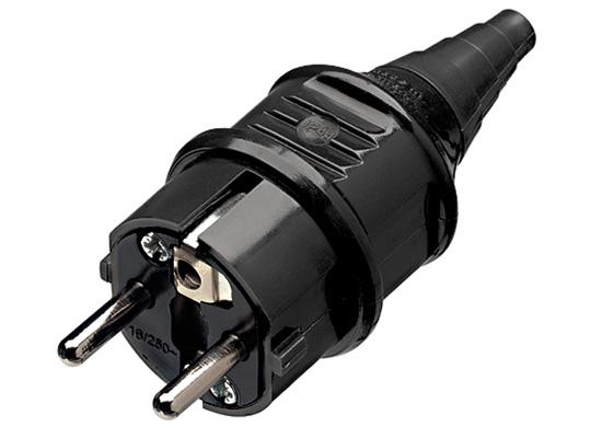 3x Schuko Stecker Strom schwarz 230V 16A