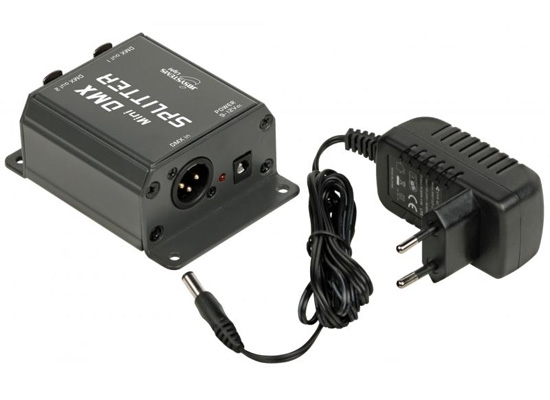 JB Systems Mini DMX-Splitter, IN: XLR 3pin, OUT: 2x XLR 3pin, incl  9V  Power Supply