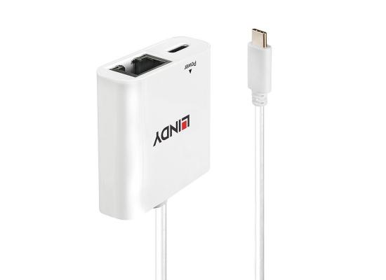 Lindy 43284 Netzwerk-Adapter, Gigabit, USB C/RJ45, Power Delivery
