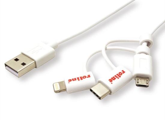 Roline USB Kabel, 1m, weiß