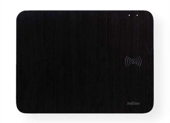 Roline Mauspad, schwarz, Wireless Charging Ladefläche