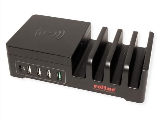 Roline USB Ladestation, 5 Ports + Wireless Charging Pad
