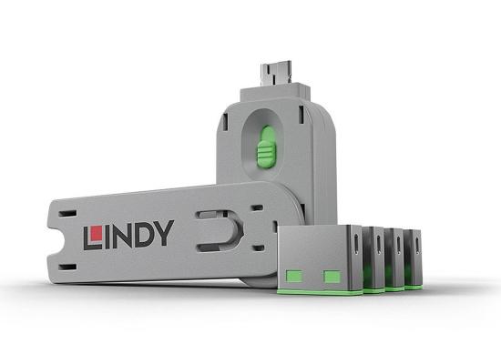 Lindy 40451 USB-A Port Schloss SET, GRÜN, 1x Schlüssel/4x Schloss