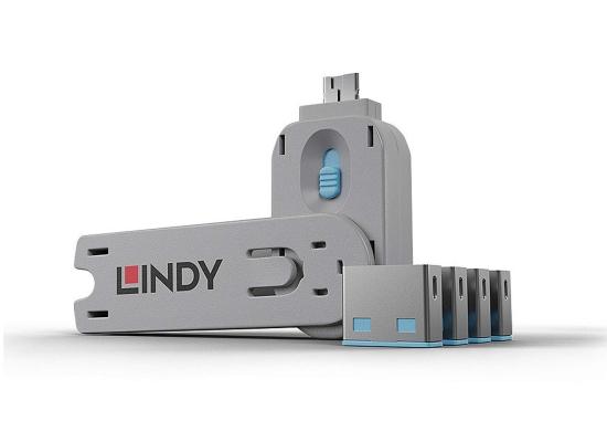 Lindy 40452 USB-A Port Schloss SET, BLAU, 1x Schlüssel/4x Schloss