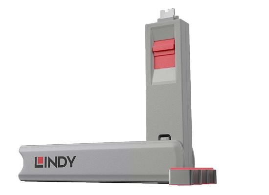 Lindy 40425 USB-C Port Schloss SET, PINK, 1x Schlüssel/4x Schloss