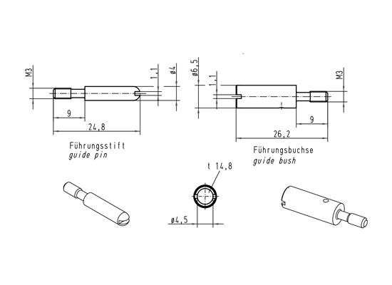 Harting HAN D/E Guide Pin, Standard, M3, suitable for HAN D / HAN E on